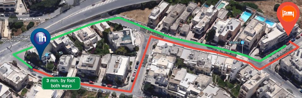 Карта (от школы IH Malta до студенческой резиденции Villa Belview) - 3 минуты пешком