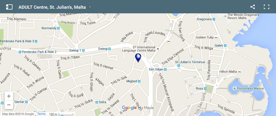 Карта школы для взрослых, Сент Джулианс, Мальта
